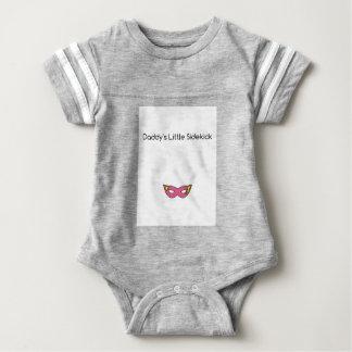 Daddy's Little Sidekick superhero mask pink Baby Bodysuit