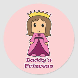 Daddy's Princess Round Stickers