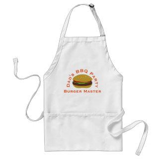 Dad's BBQ Party Burger Master Custom White Apron
