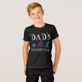 Dad's Biggest Fan Triathlon Ironman Swim Bike Run T-Shirt