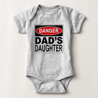 Dad's Daughter Danger Signboard Baby Bodysuit