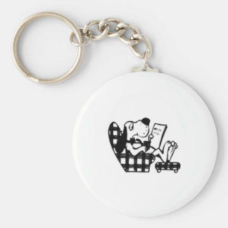 Dad's Day King Mutt Basic Round Button Key Ring