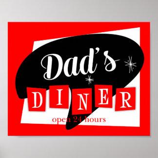 Dad's Diner Red Black Retro Kitchen Print