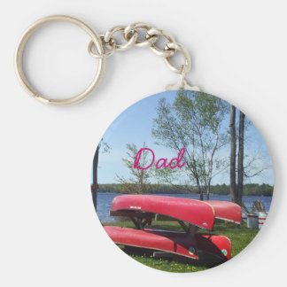 Dad's Father's Day-Canoes Basic Round Button Key Ring
