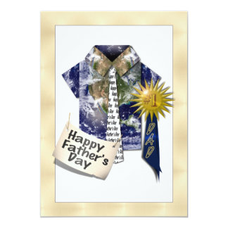 Dads Favorite Earth Shirt with #1 Ribbon on Gold Custom Announcements