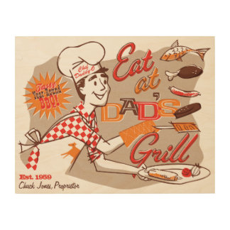 Dad's Grill Retro Wood Sign 14x11 (CUSTOMIZABLE) Wood Prints