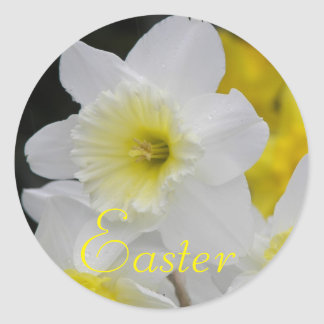 Daffodil Floral Easter Round Sticker