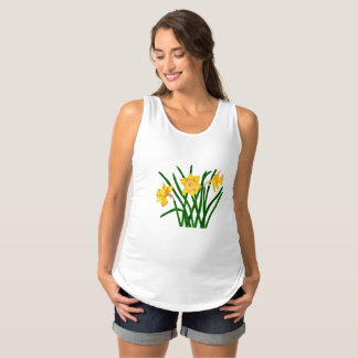 Daffodil Flower Watercolour Painting Maternity Tee