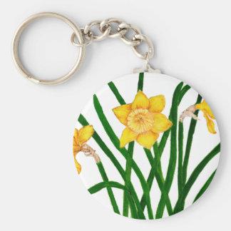 Daffodil Flowers Watercolour Painting Artwork Key Ring