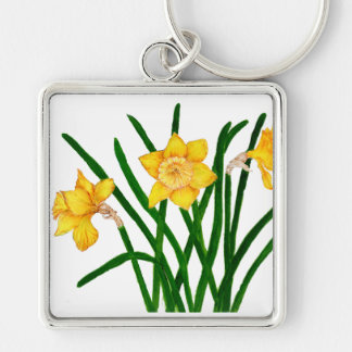 Daffodil Flowers Watercolour Painting Artwork Key Ring