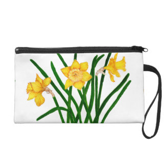Daffodil Flowers Watercolour Painting Artwork Wristlet