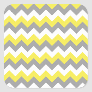Daffodil Gray and White Zigzag 2 Square Sticker