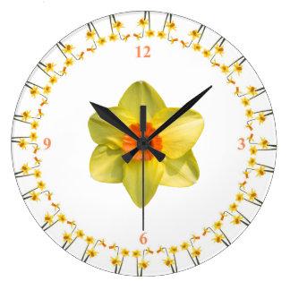 Daffodil madness large clock