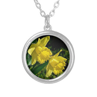 Daffodil March birth month flower Round Pendant Necklace