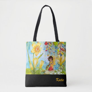 Daffodil Pixie Watercolour Personalised Tote Bag
