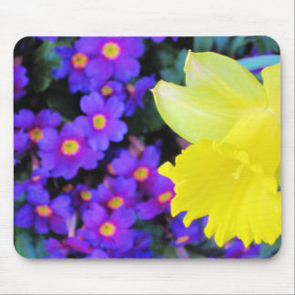 Daffodil & purple spring flowers mouse pad