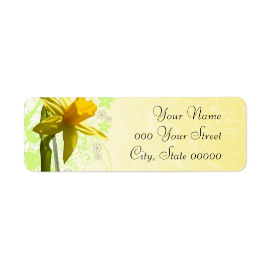 Daffodil Wedding Yellow Spring Return Address Label
