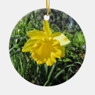 Daffodil Yellow Round Ceramic Decoration