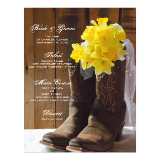 Daffodils and Cowboy Boots Country Wedding Menu 21.5 Cm X 28 Cm Flyer