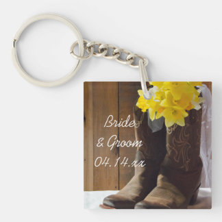 Daffodils and Cowboy Boots Country Western Wedding Key Ring