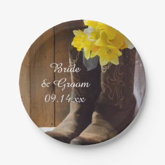 Daffodils and Cowboy Boots Country Western Wedding Paper Plate