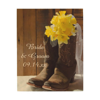 Daffodils and Cowboy Boots Country Western Wedding Wood Wall Art