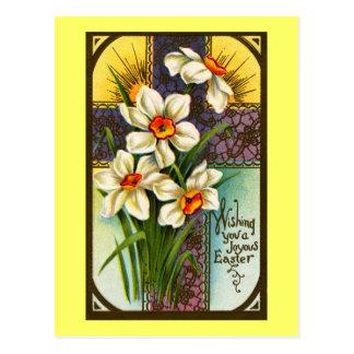 Daffodils and Cross Vintage Easter Postcard