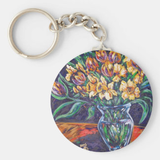 daffodils and tulips key ring