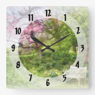 Daffodils by Bench Square Wall Clock