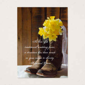 Daffodils Cowboy Boots Wedding Charity Favor Card