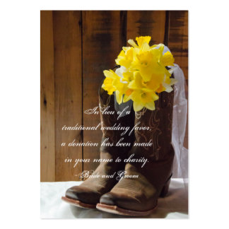 Daffodils Cowboy Boots Wedding Charity Favor Card Pack Of Chubby Business Cards