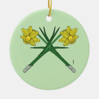 Daffodils Crossed Ceramic Ornament