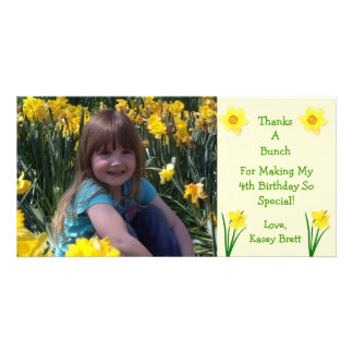 Daffodils Flowers Cream Thank You Customized Photo Card
