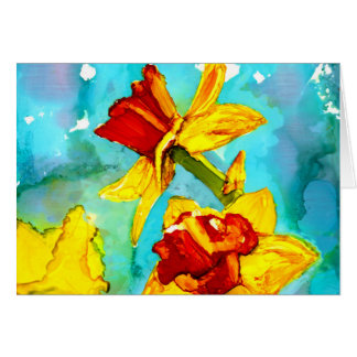 Daffodils in alcohol inks painting card