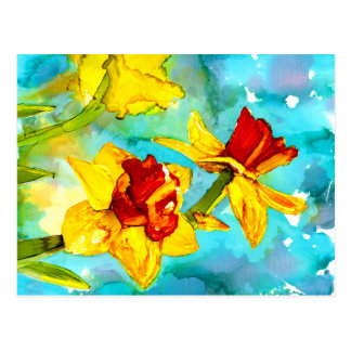 Daffodils in alcohol inks painting postcard