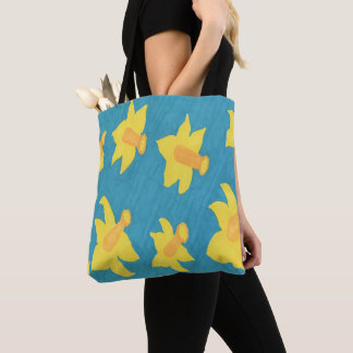 Daffodils on Blue Background Tote Bag