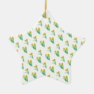 Daffodils Pattern Ceramic Star Decoration