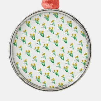 Daffodils Pattern Silver-Colored Round Decoration