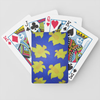 Daffodils Pop Art Blue Bicycle Playing Cards