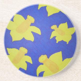 Daffodils Pop Art Blue Coaster