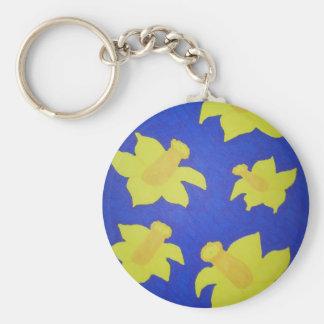 Daffodils Pop Art Blue Key Ring