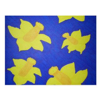 Daffodils Pop Art Blue Postcard