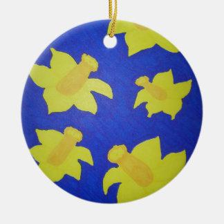 Daffodils Pop Art Blue Round Ceramic Decoration