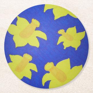 Daffodils Pop Art Blue Round Paper Coaster