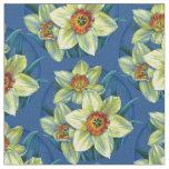 Daffodils spring botanical art watercolor fabric