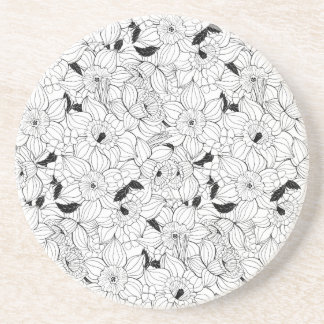 Daffodils spring floral pattern coaster
