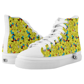 Daffodils spring floral pattern high tops