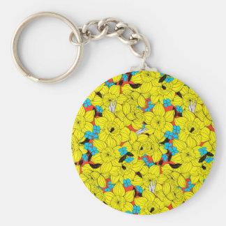 Daffodils spring floral pattern key ring