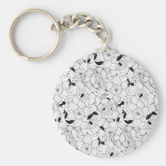 Daffodils spring floral pattern key ring