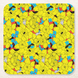 Daffodils spring floral pattern square paper coaster